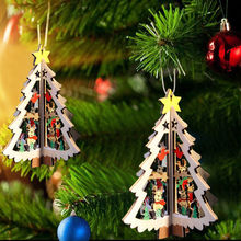 3D Wooden Christmas Decoration Xmas Tree Pendant Embellishments Hanging Home Party Bauble Decoration Drop Ornaments