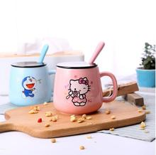 1 Pcs Cartoon Hello Kitty Doraemon Animal Home Office Garden 400ML Ceramic Coffee Milk Tea Mug Cup With Spoon Lid