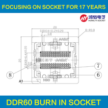 DDR2-0.8-60pin Burn in Test Socket Ball Pin Pitch 0.8mm DDR DIMM DRAM for DDR manufacturer(China)