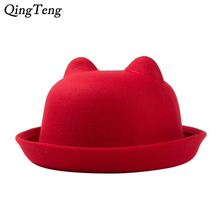 Hat With Ears Wool Felt Women'S Fedoras Hats Winter Warm Retro Vintage Cat Ear Animal Cap Not Deformed Fedoras Caps For Women(China)