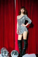 Europe and the United States women's dance clothing nightclub sequined steel tube dance costume(China)