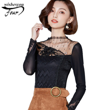 2017 fashion new sexy long-sleeved autumn bottoming shirt stand neck hollow out solid women lace blouse top blusas 93J 30