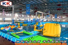 inflatble water slide swimming pool games mental frame pool(China)
