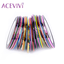 ACEVIVI 38Pcs Mixed Colors Rolls Striping Tape Line Nail Art Decoration Sticker DIY Nail Tips Nail Decal Wholesale Top Quality
