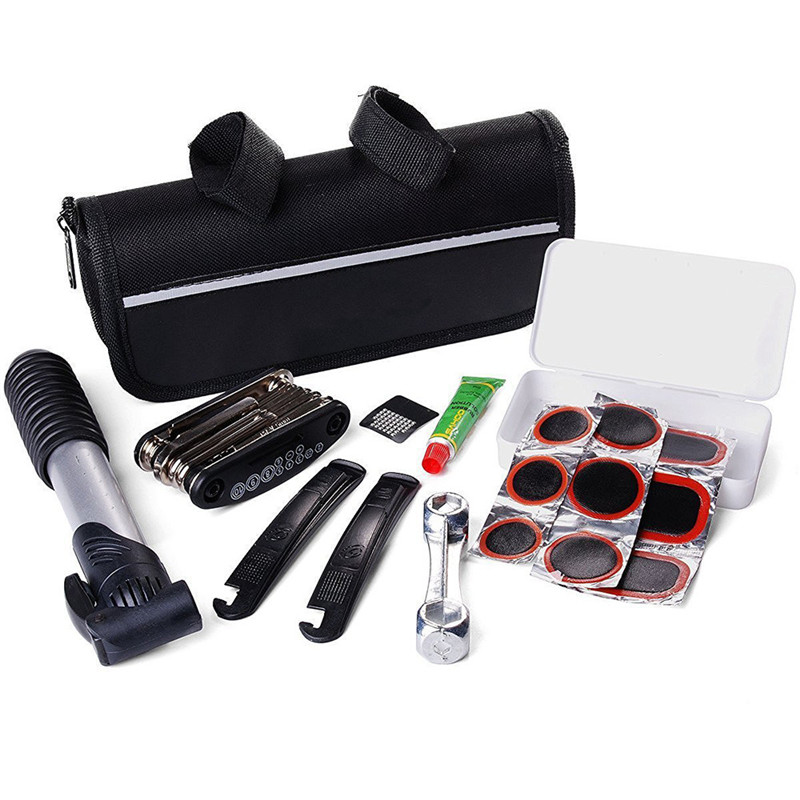 4050#New High Bike Bicycle MTB 16in1 Multi-function Tool Repair Kit Set Pump & Bag Bicycle Repair Tool freeshipping