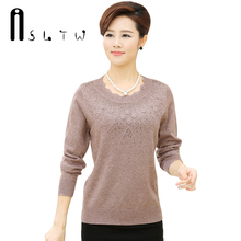 Hot Selling New Plus Size Autumn Winter Cashmere Lotus Leaf Collar Knitwear Mother Sweater With Diamonds Long Sleeve Pullover(China)