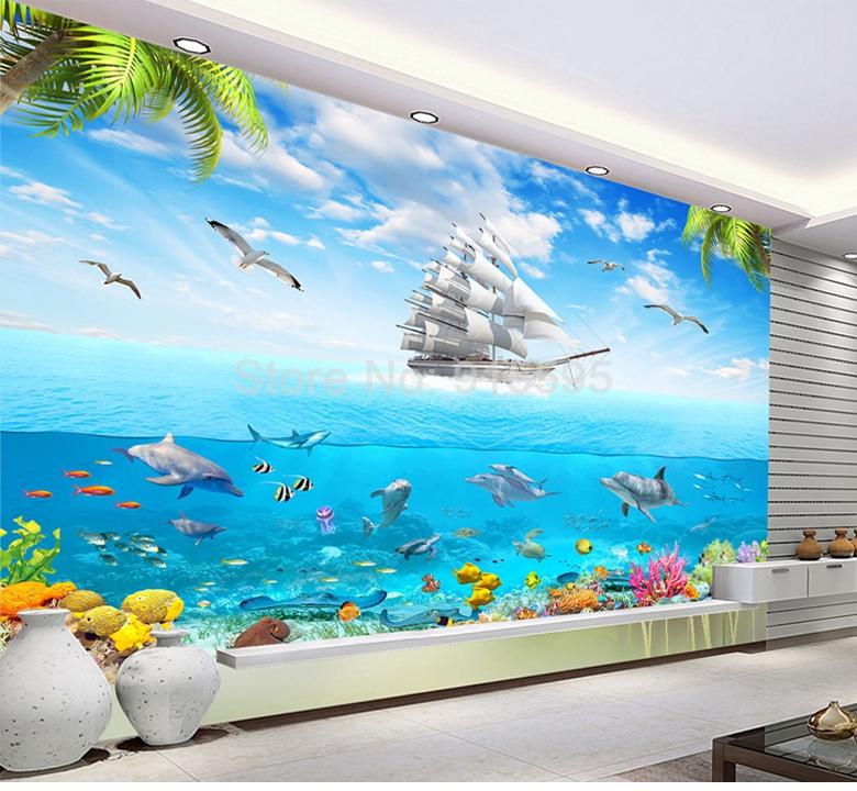 HTB1McE4RpXXXXXPXpXXq6xXFXXX4 - 3D Cartoon Picture Underwater Sailing Dolphin Wall Mural-Free Shipping