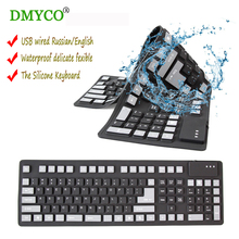 DMYCO Hot sale teclado English silicon portable Flexible keyboard Waterproof USB Wired Rubber keyboard for Laptop Desktop Tablet(China)