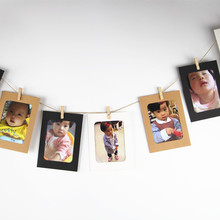 Photo Frame DIY Paper Picture Holders Wall Rope Clip Weeding Decoration Party Supplies Fits for 4 inch photo(China)