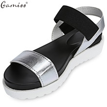 Gamiss Women Beach Sandals Summer Casual Flat Shoes Peep-toe Roman Sandals Lady Flip Flops Footwear Gladiator Sandalias Mujer(China)