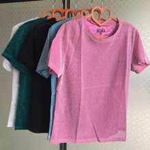 manufacturers  Flash T shirt sexy clothing 2017 summer new arrive bright light silk thin O neck short sleeve women T-shirt 9988