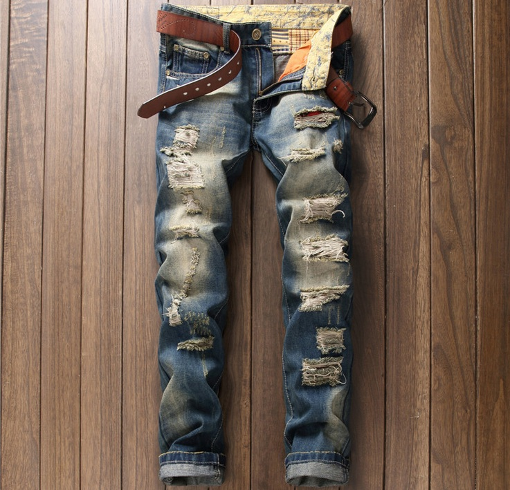 2017 European American Style cotton men jeans luxury Mens casual denim trousers ripped rap hole zipper Slim blue jeans for menОдежда и ак�е��уары<br><br><br>Aliexpress