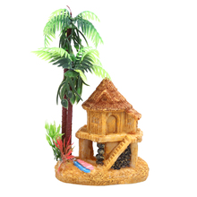 1PC Resin Simulation Coconut Tree Castle Aquariums Fish Aquatic Pet Tank Ornaments Decoration Fish House