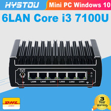 6 Ethernet LAN fanless pfsense Mini PC Intel Skylake core i3 7100u DDR4 ram AES-NI linux Firewall Pfsense Router Network Server(China)