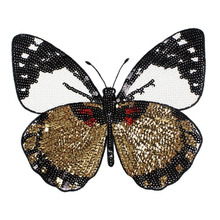 DoreenBeads 23x22cm Black & Golden Butterfly Sequined Patches Appliques Fashion Patch Sticker for Girls T Shirts Bags DIY Craft