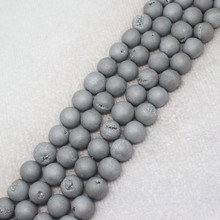 Mini.order is $7! 8-14mm Gray dream Smile Metallic Coated Druzy Agates Round Stone DIY loose beads 15""