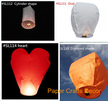 8pcs/lot Heart Shape Biodegradable Flame Resistant Paper Sky Lantern Balloon For Wedding Party Celebration