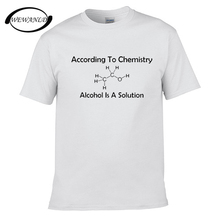 Tops Male T Shirt Crew Neck Men New Style Short Sleeve Alcohol Is A Solution Chemistry Funny Science Drunk Drinker Tee Shirt