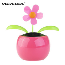 VORCOOL Dacing Solar Flower Car Decor Solar Powered Happy Dancing Flower in the Pot (Pink)