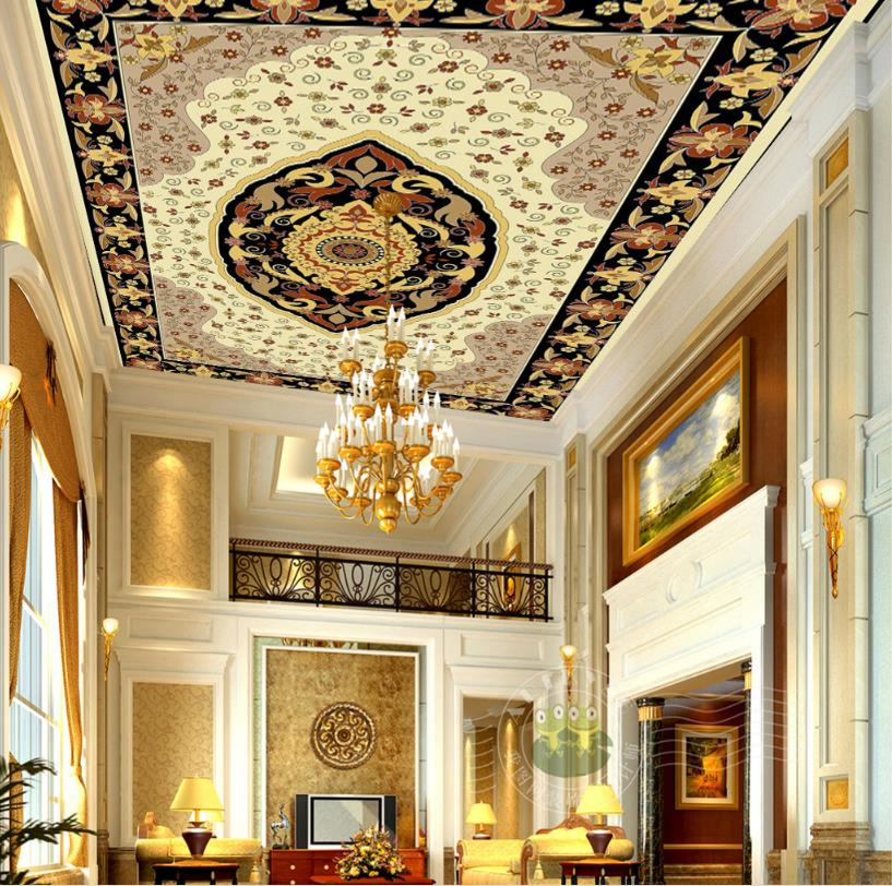 European style 3D Ceiling Murals Wallpaper Golden Flower circle 3D Ceiling Custom sized Wallpaper<br>