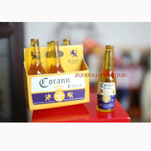 1/6 Scale Mini 6 Bottles of Beer with Paper Box Dollhouse Miniature Doll Food Drinks Play Kitchen Toy Accessories(China)