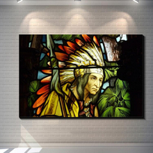 Vintage Abstract Stained glass indians Painting Picture Canvas Poster Bar Pub Home Art Decor Custom Fashion Classic Paint Canvas