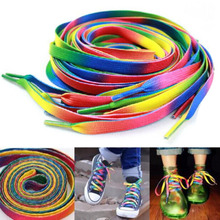 Cotton Colorful Laces Rainbow Gradient Print Flat Canvas Shoe Lace Shoes Casual Chromatic Colour Shoelaces(China)
