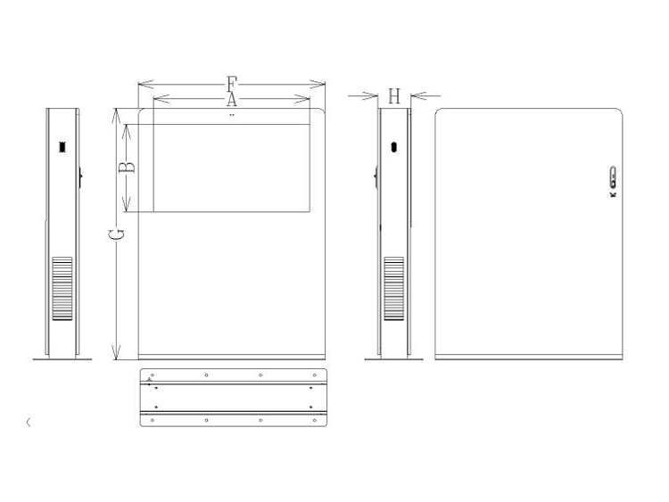 free standing outdoor digital signage drawing(landscape)