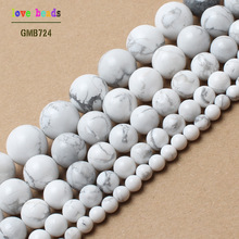 Natural Stone Beads White Howlite Truquoises Round Loose Beads For Jewelry Making 15.5inch  Pick Size 4 6 8 10 12 14mm -F00043