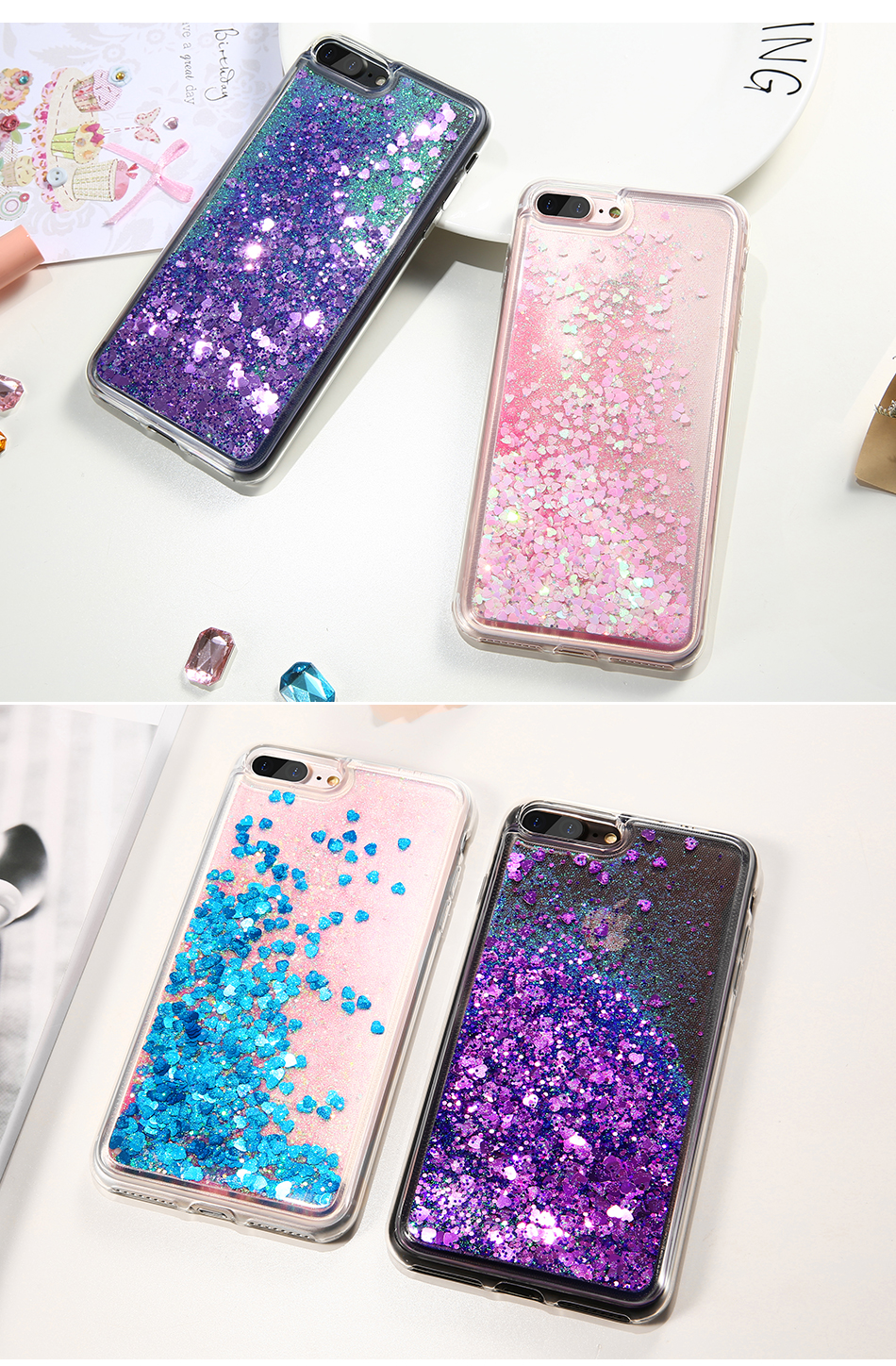 DOEES Bling Liquid Quicksand Phone Case For iPhone 7 7 Plus Shiny Sequin Soft Silicone Case Cover For iPhone 5 5S SE 6 6s Plus (3)