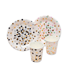 20pcs Gold Star Colorful Dot Paper Disposable Plates Cups Wedding Supplies Foild Bronzing Birthday Party Decoration Accessories