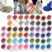 60pcs/lot Mixed Design Nail Art Glitter Sparkly Paillette Dust Powder Beauty Decoration Nail Glitter For UV GEL Acrylic JINJ151