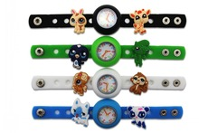 1 piece Diy cute silicone kid Wristwatch watch with 10pieces Littlest Pet Shop shoe charms kid gift(China)