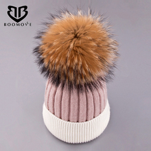 BOOMOVE Fox Fur Ball Cap Pom Poms Winter Hat For Women Girl 's Hat Knitted Beanies Cap Brand New Thick Female Cap Drop Shipping(China)