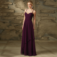 New Fashion 2016 Taffeta Spaghetti Straps Floor Length Pleated Purple Bridesmaid Dresses Fast Delivery Long Dress Made In China