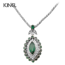 Hot Sale 2017 Vintage  Jewelry Green Necklace For Women Silver plated Mosaic AAA Crystal New Year Gift