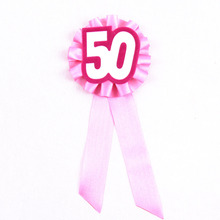 4pcs Sweet 50 years ceremony brooch girls birthday badge woman happy birthday button Event party supplies fun favor