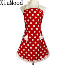 XiuMood Cute Sweetheart Retro Kitchen Cooking Aprons For Women White Lace Red Dots Waterproof
