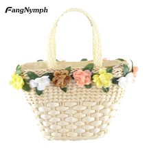 Farmhouse style Women's Straw Knitted Handbag Colorful Flower Decoration Beach Bags With Carrying Handle Design