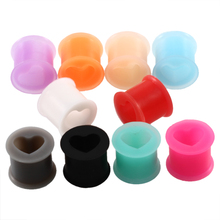 2pcs Silicone Ear Plugs and Tunnels Heart Shape Ear Gauge Plug Tunnel Silicone Ear Stretcher Expanders Body Jewelry Piercings