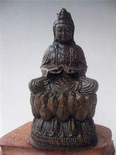 Nice HEIGHT HAVE AROMA HARD WOOD CARVED KWAN-YIN GUAN YIN STATUE RRA(China)