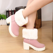 Thick High Heels Flock Women Short Boots 2017 New Arrival Fashion Snow Boots Chunky Heels Fur Boots  Ankle Boots