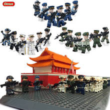 Oenux New The Armed Forces Navy Land Force Air Force Military Army Soldiers Building Blocks Set Military Weapons Model Brick Toy