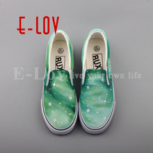 E-LOV New Arrival Hand Drawing Starry Sky Casual Slip On Shoes Women Girls Dream Graffiti Galaxy Stars Flat Loafers