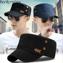 Male Four Seasons Headwear Father Outdoor Causal Peak Hats Men Pure Cotton Flat Army Caps