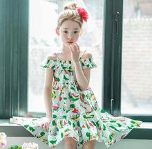 2017 Brand Girls Dress Cotton Floral Shoulder Off Girls Casual Dress Sleeveless Cotton Tank Children Beach Dress Kids Clothes