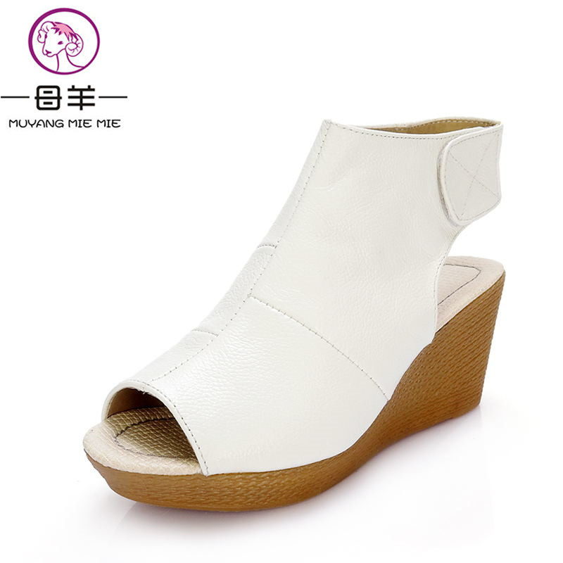 New fashion 2017 summer shoes woman genuine leather wedge sandals open toe casual wedges women platform sandals women sandals(China)
