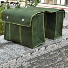 WEST BIKING Bicycle Bag Rack Basket Canvas Bike tool Bag Strong Solid and Durable Long Haul Cycling Bag Rear Bike Panniers(China)