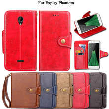 Vintage Flip Case For Explay Phantom Case Cover Luxury Kickstand PU Leather Card Slot Wallet Fundas Coque Cover With Lanyard(China)