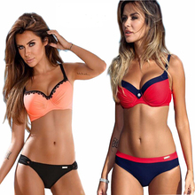 2017 Sexy Women Swimsuit Push Up color Cross Bandage Bikini Swimwear Halter Bikini Set Beach Bathing Suit Swim Wear XXL(China)